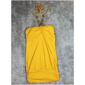 Moda Gold Yellow Halter Mini Dress w/ Wood Beads M